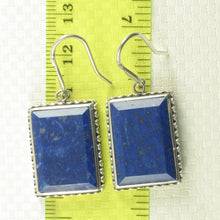 Load image into Gallery viewer, Solid Sterling Silver .925 Genuine Lapis Lazuli Antique Finish Hook Earrings