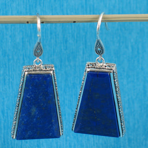 Gorgeous Natural Lapis Lazuli Hook Solid Sterling Silver 925 Earrings