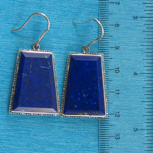 Solid Sterling Silver 925 Gorgeous Natural Lapis Lazuli Hook Earrings