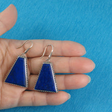 Load image into Gallery viewer, Gorgeous Genuine Natural Lapis Lazuli Solid Sterling Silver 925 Hook Earrings