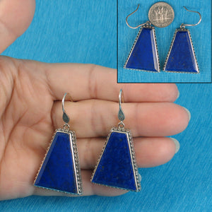 Gorgeous Genuine Natural Lapis Lazuli Solid Sterling Silver 925 Hook Earrings
