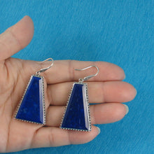 Load image into Gallery viewer, Solid Sterling Silver 925 Gorgeous Genuine Natural Lapis Lazuli Hook Earrings