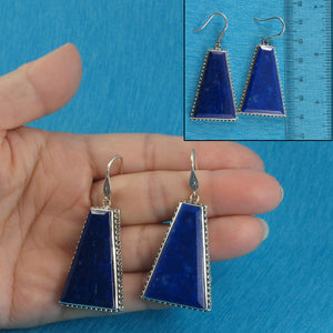 Solid Sterling Silver 925 Gorgeous Genuine Natural Lapis Lazuli Hook Earrings