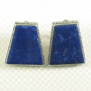 Sterling Silver .925 Large Natural Blue Lapis Lazuli Omega Clip Earrings