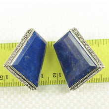 Load image into Gallery viewer, Sterling Silver .925 Large Natural Blue Lapis Lazuli Omega Clip Earrings