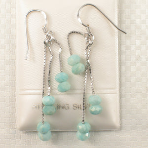 Solid Sterling Silver .925 Box Chain Faceted Amazonite Dangle Hook Earrings
