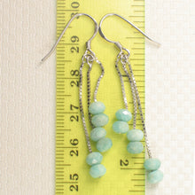 Load image into Gallery viewer, Solid Sterling Silver .925 Box Chain Faceted Amazonite Dangle Hook Earrings