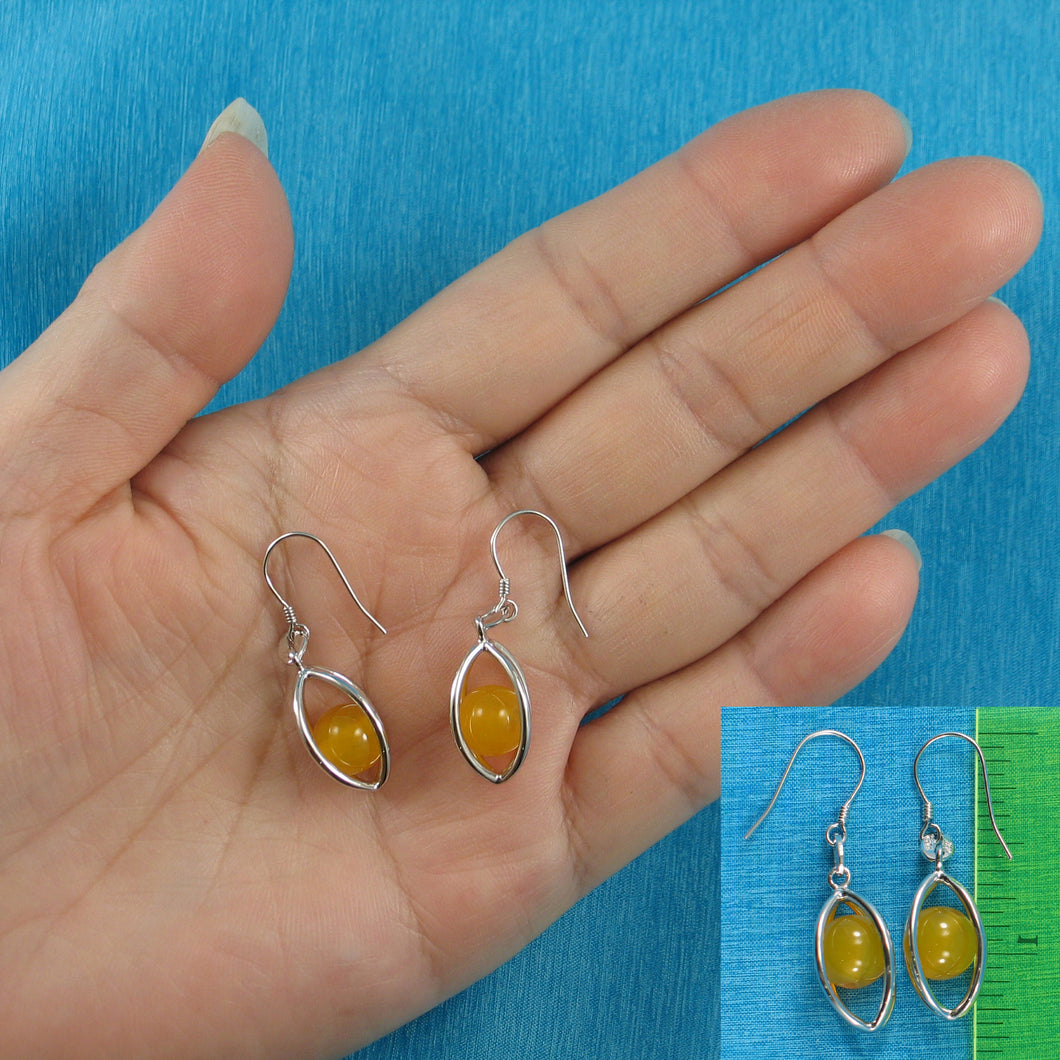 Solid Sterling Silver .925 Lucky Lanterns Unique Genuine Agate Hook Earrings