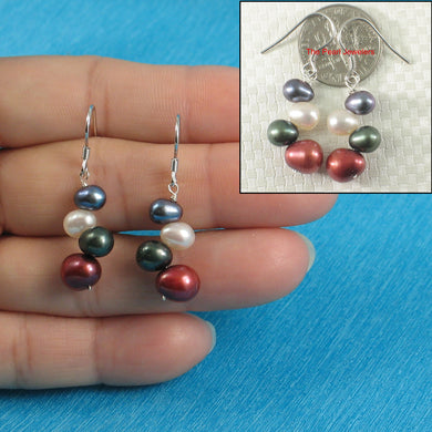 Rainbow Rice Cultured Pearl Sterling Silver .925 Handcrafted Hook Earrings