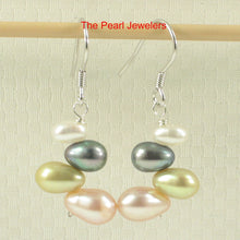 Load image into Gallery viewer, Sterling Silver .925 Handcrafted Multi-color Rice Cultured Pearl Hook Earrings