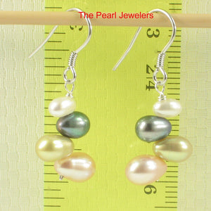 Sterling Silver .925 Handcrafted Multi-color Rice Cultured Pearl Hook Earrings
