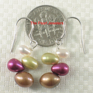 Sterling Silver .925 Handcrafted Rainbow Rice Cultured Pearl Hook Earrings