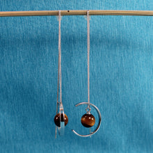 Load image into Gallery viewer, Beautiful Solid Sterling Silver Threader, Tiger-Eye Bead Long Chain Earrings