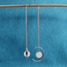 Load image into Gallery viewer, Beautiful Solid Sterling Silver Threader, Rose Quartz Bead Long Chain Earrings