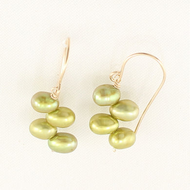 9130935B-Gold-Filled-Handcrafted-Green-f/w-Cultured-Pearl-Hook-Earrings