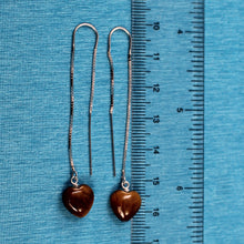 Load image into Gallery viewer, Solid Silver 925 Box Chain Hook 10mm Genuine Tiger-eye Dangle Earrings