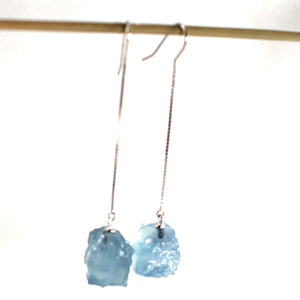 Solid Silver 925 Box Chain Hook Genuine Baroque Aquamarine Dangle Earrings