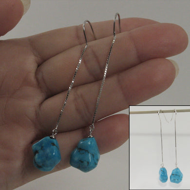 Genuine Baroque Turquoise Solid Silver 925 Box Chain Hook Dangle Earrings