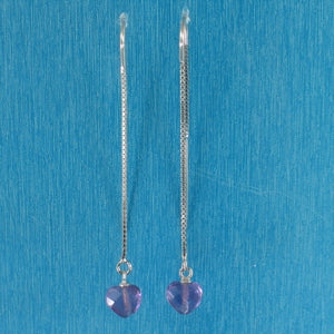 Solid Silver 925 Box Chain Hook Faceted Heart Genuine Amethyst Dangle Earrings