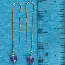 Load image into Gallery viewer, Solid Silver 925 Box Chain Hook Faceted Heart Genuine Amethyst Dangle Earrings