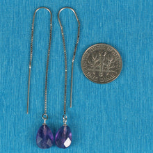 Load image into Gallery viewer, Solid Silver 925 Box Chain Hook Faceted Drop Genuine Amethyst Dangle Earrings