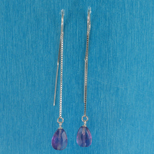 Solid Silver 925 Box Chain Hook Faceted Drop Genuine Amethyst Dangle Earrings