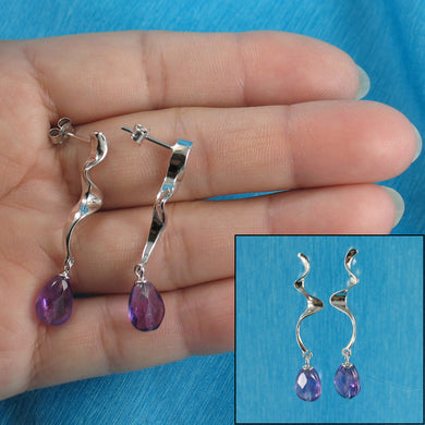 Solid Silver 925 Lightning Dangle Design Faceted Genuine Amethyst Earrings