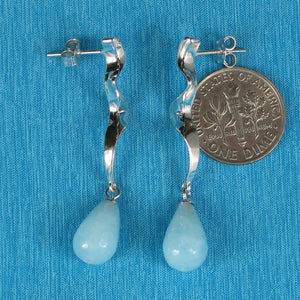 Solid Silver 925 Lightning Dangle Design Faceted Genuine Aquamarine Earrings