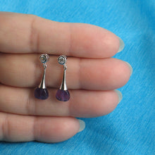 Load image into Gallery viewer, Beautiful Heart Genuine Amethyst & Cubic Zirconia Solid Silver 925 Earrings