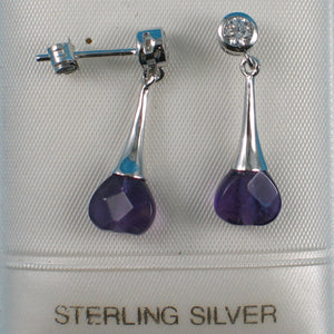 Beautiful Heart Genuine Amethyst & Cubic Zirconia Solid Silver 925 Earrings