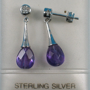 Beautiful Faceted Genuine Amethyst & Cubic Zirconia Solid Silver 925 Earrings