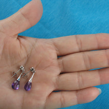 Load image into Gallery viewer, Beautiful Faceted Genuine Amethyst & Cubic Zirconia Solid Silver 925 Earrings
