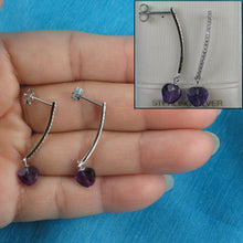 Load image into Gallery viewer, Beautiful Heart Shape Genuine Amethyst & Cubic Zirconia Solid Silver 925 Earrings