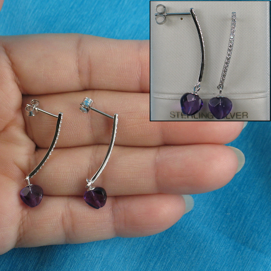Beautiful Heart Shape Genuine Amethyst & Cubic Zirconia Solid Silver 925 Earrings