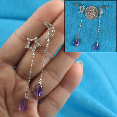 Beautiful Solid Silver .925 Moon & Star Amethyst & Cubic Zirconia Earrings
