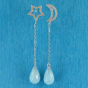 Beautiful Solid Silver .925 Moon & Star Aquamarine & Cubic Zirconia Earrings