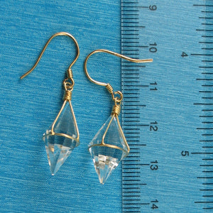 Good Fortune Genuine Crystal Hand Crafted Hook Earrings; Sterling Silver 925