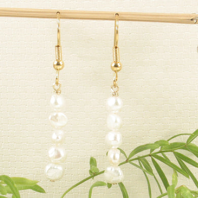 Handcrafted White Small Baroque Pearl Simple Style Gold Plate Hook Earring