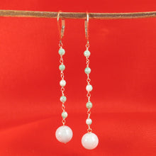 Load image into Gallery viewer, Handcrafted 14k Yellow Gold-Filled Jade Ball Drop Lever Back Earrings
