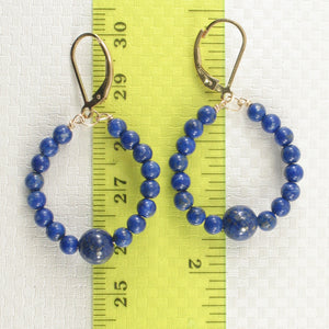 Handcrafted 14k Yellow Gold-Filled Blue Lapis Lazuli Drop Lever Back Earrings