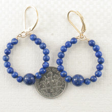 Load image into Gallery viewer, Handcrafted 14k Yellow Gold-Filled Blue Lapis Lazuli Drop Lever Back Earrings