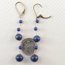 Load image into Gallery viewer, 14k Yellow Gold-Filled Lever Back Blue Lapis Lazuli Handcrafted Drop Earrings