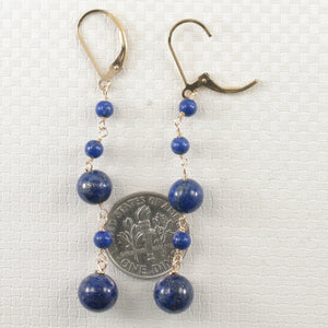 14k Yellow Gold-Filled Lever Back Blue Lapis Lazuli Handcrafted Drop Earrings