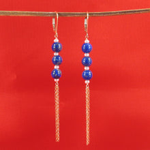 Load image into Gallery viewer, 14k Yellow Gold-Filled Lever Back Blue Lapis Lazuli & Pearl Drop Earrings