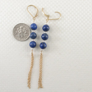 14k Yellow Gold-Filled Lever Back Blue Lapis Lazuli & Pearl Drop Earrings