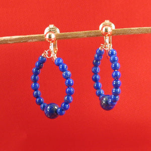 14k Yellow Gold Filled Non-Pierced Clip-On Handcrafted Blue Lapis Earrings