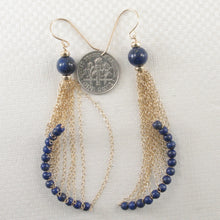 Load image into Gallery viewer, 14k Yellow Gold-Filled Hook Blue Lapis Lazuli Handcrafted Drop Earrings
