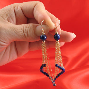 14k Yellow Gold-Filled Hook Blue Lapis Lazuli Handcrafted Drop Earrings