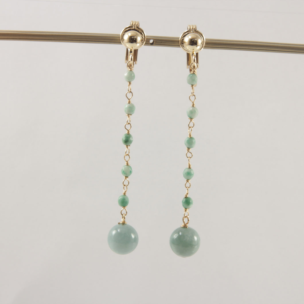 14k Yellow Gold Filled Non-Pierced Clip-On Handcrafted Jade Earrings
