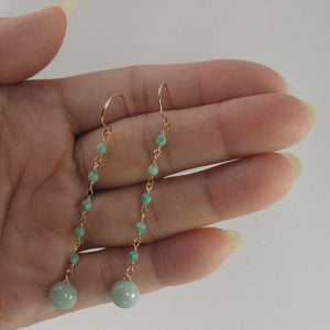 Handcrafted Unique Design 14k Yellow Gold-Filled Jade Ball Drop Hook Earrings